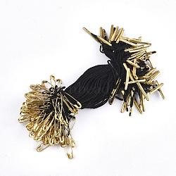 Ценник одежды повесить, полипропиленовый шнур, с предохранительной булавкой и застежкой, золотые, чёрные, 110x1 мм; булавка: 18x4.5x1.5 мм, булавка: 0.5 мм; барная застежка: 16x2x1.5 мм; около 1000 шт. / пакет(CDIS-T001-26A-G)