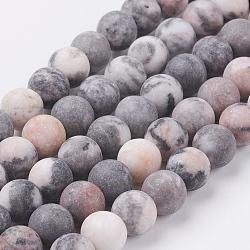 """Chapelets de perles de jaspe zèbre rose naturel, mat, rond, 8mm, trou: 0.8mm; environ 47 pcs/chapelet, 15.3"""" (39 cm)(G-J372-02-8mm)"""