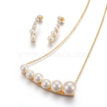 Beige Stainless Steel Stud Earrings & Necklaces