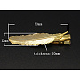 Iron Flat Alligator Hair Clip Findings, with Brass Leaf Tray, Golden, 53x12x10mm