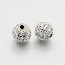 Perles rondes en laiton texturées, argenterie, 6mm, Trou: 1.2mm(KK-N0061-01S-6mm)