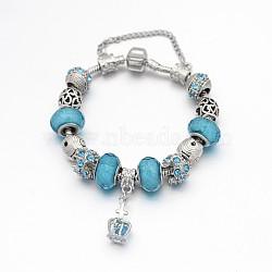 Alliage de couronne strass émail européens bracelets de perles, avec résine perles européennes, chaînes en laiton et en alliage fermoirs, bleu ciel, 180mm(BJEW-I182-02D)
