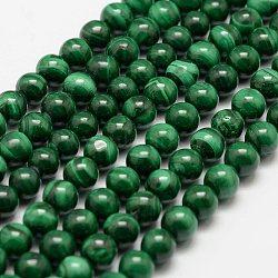 """Chapelets de perles en malachite naturelle, rond, 6mm, trou: 0.5mm; environ 68 pcs/chapelet, 15.7"""" (40 cm)(G-F461-05-6mm)"""
