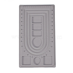 PE and Flocking Bead Design Boards, Necklace Design Board, with Graduated Measurements, DIY Beading Jewelry Making Tray, Rectangle, Gray, 41x23.5x1.3cm(TOOL-O005-05)