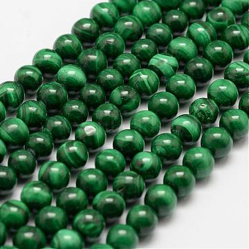 Natural Malachite Beads Strands, Round, 6mm, Hole: 0.5mm; about 68pcs/strand, 15.7 inches(40cm)(G-F461-05-6mm)