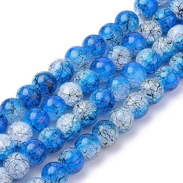 Drawbench Synthetic Crackle Quartz Beads Strands, Dyed, Two Tone Style, Round, RoyalBlue, 8mm, Hole: 1mm; about 50pcs/strand, 15.7''(GLAA-S140-8mm-12)
