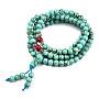 4-Loop Wrap Buddha Meditation Yellow Jade Beaded Bracelets, Buddhist Necklaces, Aquamarine, 720x6mm; 108pcs/strand; about 28.3 inches