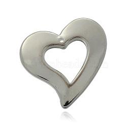Пластмассовые подвески ccb сердца, платина, 30x32x4 мм, отверстие : 1.5 мм(CCB-J028-16P)