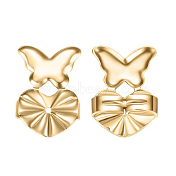 Environmental Electroplate Brass Ear Nuts, Earring Backs, Real 18K Gold Plated, Butterfly with Heart, 14x10mm(EJEW-AA00266-46G)
