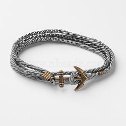 Bracelets enveloppés de deux boucles en cordon de polyester, avec les accessoires en alliage de ton de bronze antique d'ancrage, grises , 415x3mm(BJEW-M193-18)