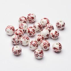 Perles de porcelaine imprimées manuelles, rond, rouge, environ 12 mm de diamètre, Trou: 3mm(X-CF188Y)