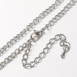 Iron Curb Chain Necklace Making, with Alloy Lobster Claw Clasps and Iron End Chains, Platinum, 32.67inches(MAK-J004-10P)
