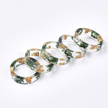 Resin Rings, with Dried Grass, Gold Foil, Green, 16mm(RJEW-S043-04A-02)