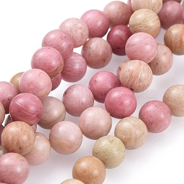 Natural Rhodonite Round Bead Strands, 8mm, Hole: 1mm; about 49pcs/strand, 16 inches(G-G735-09-8mm)