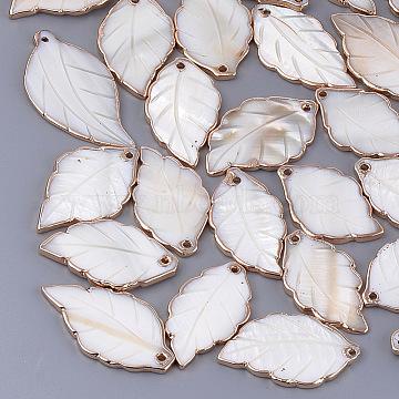Electroplate Freshwater Shell Pendants, Leaf, Seashell Color, 34~45x19~24x3mm, Hole: 1.8mm(X-SHEL-S274-57)