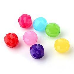 Perles en acrylique de gelée d'imitation, lanterne, facette, couleur mixte, 14.5x14mm, trou: 2.5 mm; environ 369 pcs / 500 g(JACR-Q021-M)