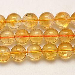 Природный цитрин бисер нитей, круглые, оранжевые, 6 мм, отверстие : 1 мм(G-G448-6mm-15)