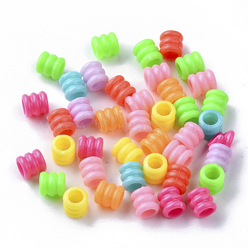 Opaque Polystyrene Plastic European Groove Beads, Large Hole Beads, Column with Groove, Mixed Color, 7x6.5mm, Hole: 4mm; about 350pcs/50g(X-KY-I004-17B)