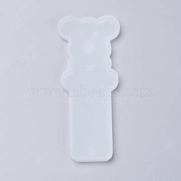 Silicone Bookmark Molds, Resin Casting Molds, Bear, Clear, 94x39x4.5mm; Inner Diameter: 91x37mm(X-DIY-P001-05A)
