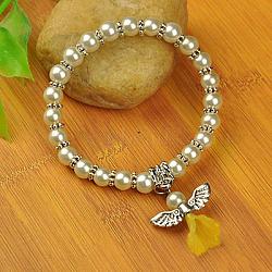 Bracelets d'ange belle avec robe de mariée pour les enfants, bracelets carnaval extensibles, avec verre perles de nacre et de perles de style tibétain, blanc crème, 45mm(BJEW-JB00727-11)
