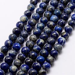 Natural Lapis Lazuli Beads Strands, Round, 12mm, Hole: 1.2mm, about 33pcs/strand, 15.5inches(39cm)