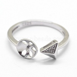 Adjustable 925 Sterling Silver Cuff Finger Ring Components, For Half Drilled Beads, with Cubic Zirconia, Clear, Triangle, Platinum, Size: 7, 17mm; Tray: 6mm; Pin: 0.6mm(STER-I016-042P)