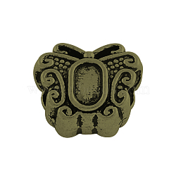 Tibetan Style Alloy European Bead Cabochon Settings, Large Hole Butterfly Beads, Lead Free & Nickel Free, Antique Bronze, Tray: 5x3mm; 12x10x6.5mm, Hole: 4.5mm(X-TIBEB-Q058-19AB-FF)