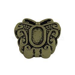 Alliage de style tibétain supports cabochons de perles européennes, grosses perles trou de papillon, sans plomb et sans nickel, bronze antique, plateau: 5x3 mm; 12x10x6.5 mm, Trou: 4.5mm(X-TIBEB-Q058-19AB-FF)