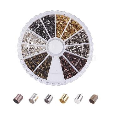 1 Box 6 Colors Brass Crimp Beads, Tube, Cadmium Free & Nickel Free & Lead Free, Mixed Color, 3x3mm, Hole: 2~2.5mm, about 420pcs/box(KK-JP0010-03A)