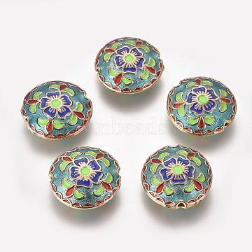 Alloy Enamel Beads, Flat Round, Golden, Dark Sea Green, 18x6.5mm, Hole: 1.5mm(ENAM-O037-02G)