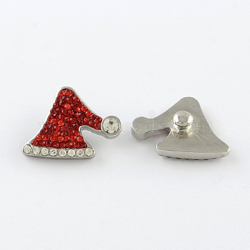 Holiday Buttons, Christmas Hat Alloy Polymer Clay Rhinestone Jewelry Snap Buttons, Platinum Metal Color, Light Siam, 20.5x22x8mm, Knob: 6mm(X-SNAP-Q004-01B)