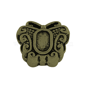 Tibetan Style Alloy European Bead Cabochon Settings, Large Hole Butterfly Beads, Cadmium Free & Nickel Free & Lead Free, Antique Bronze, Tray: 5x3mm; 12x10x6.5mm, Hole: 4.5mm(X-TIBEB-Q058-19AB-FF)