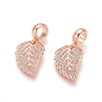 Brass Micro Pave Cubic Zirconia European Dangle Beads, Large Hole Pendants, Leaf, Clear, Rose Gold, 26mm, Leaf: 17x12.5x1.5mm, Hole: 5mm(X-ZIRC-E163-17RG)