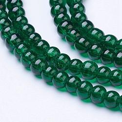 """1 brin vert foncé perles craquelé transparent rondes de fils de verre, 4 mm; trou: 1.1~1.3 mm; environ 200 pcs / brin, 31.4""""(X-CCG-Q001-4mm-17)"""