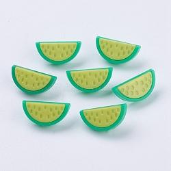 Boutons en acrylique, 1-trou, teint, pastèque, 'Chartreuse , 20x10x4mm, Trou: 3x2mm(X-BUTT-E056-05)
