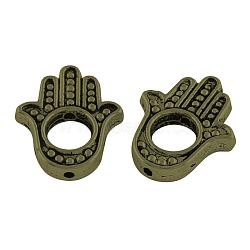 Cadres de perles en alliage de style tibétain, hamsa main / main de fatima / main de miriam, sans plomb et sans cadmium et sans nickel, bronze antique, 15x13x3mm, trou: 1 mm; diamètre intérieur: 5 mm(X-TIBEB-Q065-04AB-NR)