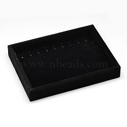 Bois parallélépipédiques bijoux bracelet affiche, recouvert de velours, noir, 20x15x3.1 cm(BDIS-L001-02C)