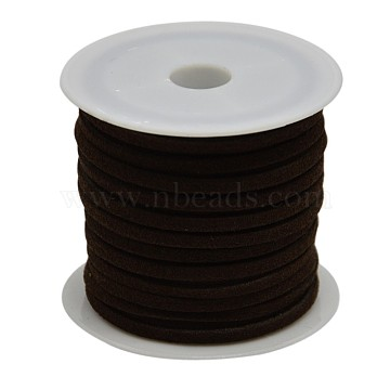 Faux Suede Cord, Faux Suede Lace, Coconut Brown, 4x1.5mm, about 5.46 yards(5m)/roll(X-LW-R003-4mm-7)