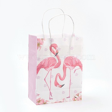 Rectangle Paper Bags, with Handles, Gift Bags, Shopping Bags, Flamingo Shape Pattern, For Valentine's Day, MistyRose, 21x15x8cmm(AJEW-G019-04S-03)