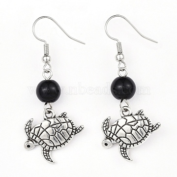 Alloy Dangle Earrings, with Glass Beads and Brass Earring Hooks, Sea Turtle, Black, 48.5mm, Pin: 0.6mm(X-EJEW-JE03179-03)