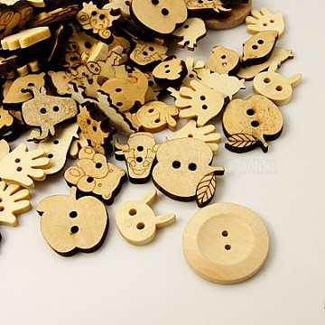 Wood Buttons, Mixed Shapes, BurlyWood, 13~28x10~28x2~5mm, Hole: 1.5~2mm(WOOD-MSMC002-1)