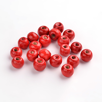 Natural Wood Beads, Rondelle, Lead Free, Dyed, Red, Beads: 8mm in diameter, hole:3mm(X-YTB022-1)