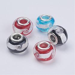 Perles en verre d'argent feuille manuelles, ame en laiton de couleur argent, rondelle, couleur mixte, environ 15 mm de diamètre, Trou: 5mm(X-PDL040J)