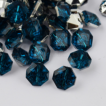 2-Hole Taiwan Acrylic Rhinestone Octagon Buttons, Faceted & Silver Plated Pointed Back, Marine Blue, 11x11.5x6mm, Hole: 1mm(X-BUTT-F016-11.5mm-17)