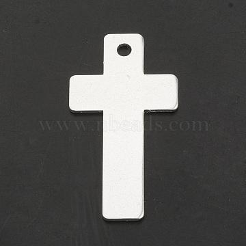 Aluminium Big Pendants, Laser Cut Big Pendants, Cross, Silver, 50x26x1.5mm, Hole: 3mm(X-ALUM-N001-13A)