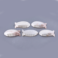 Freshwater Shell Combs, Fish, Seashell Color, 118~119x58~60x4~5mm(SSHEL-S258-65)