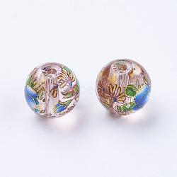 fleur photo perles de verre imprimé, arrondir, chardon, 10x9 mm, trou: 1.5 mm(GLAA-E399-10mm-F06)