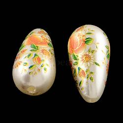 Fleur Goutte imprimés perles de actylic, perles de culture de imitation , opaque, orange foncé, 21.5x11mm, Trou: 1.5mm(OACR-R013-B01)