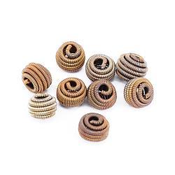 Perles de printemps en laiton, Perles de bobine, sans nickel, rond, non plaqué, 10x8mm, Trou: 2x3mm(KK-F713-49C-10x8mm)