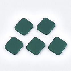 perles acryliques de style caoutchoutées, rectangle, vert, 38x39x7 mm, trou: 1.8 mm(MACR-T026-20D)